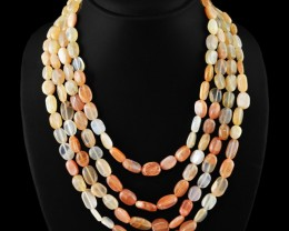 Genuine 655.00 Cts Multicolor Moonstone 4 Lines Beads Necklace