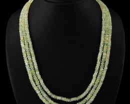 Genuine 360.00 Cts Green Flourite 3 Lines Beads Necklace