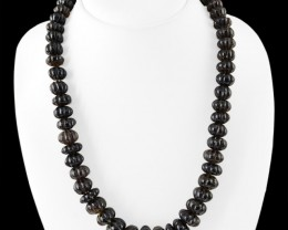 Genuine 540.00 Cts Smoky Quartz Carved Beads Necklace