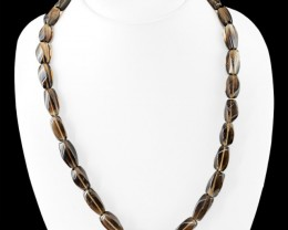 Genuine 330.00 Cts Smoky Quartz Beads Necklace