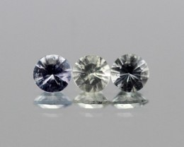 0.83cts White Sapphire 3PCS parcel from Madagascar