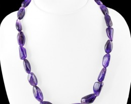 Genuine 325.00 Cts Purple Amethyst Untreated Beads Necklace