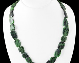 Genuine 320.00 Cts Ruby Ziosite Faceted Beads Necklace