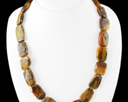 Genuine 520.00 Cts Golden Tiger Eye Faceted Beads Necklace
