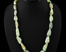 Genuine 415.00 Cts Green Phrenite Faceted Beads Necklace