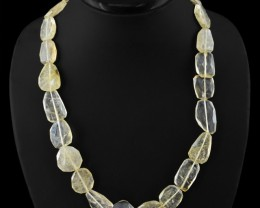 Genuine 360.00 Cts Rutile Quartz Faceted Beads Necklace