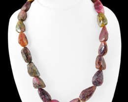 Genuine 760.00 Cts Watermelon Tourmaline Faceted Beads Necklace