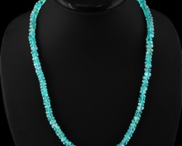 Genuine 200.00 Cts Blue Apatite Untreated Beads Necklace