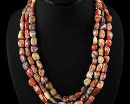 Genuine 860.00 Cts Mooakite Faceted 3 Lines Beads Necklace