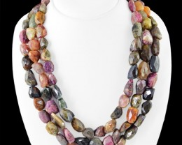 Genuine 1185.00 Cts Watermelon Tourmaline Faceted 3 Lines Beads Necklace
