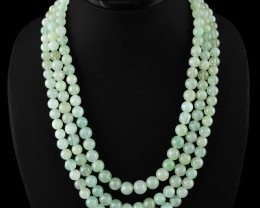 Genuine 700.00 Cts Green Aquamarine 3 Lines Beads Necklace