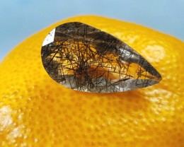 22.5mm Black Rutile drop shape faceted gem 10.85ct