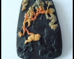 Picasso Jasper,Obsidian Monkey Pendant Bead,87cts