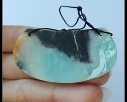 64.5cts Natural Bi Color Amazonite Gemstone Pendant Bead