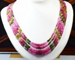 "3mm to 4mm AAA 300ct 5 lines 16 to 20"" Watermelon Tourmaline beads nec"