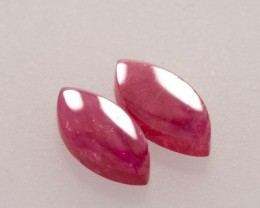 1.97ct 10x5mm Ruby Marquise Shape Flat Cut Pair