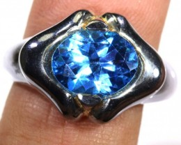 Swiss blue Topaz SILVER RING 27.15 CTS SG-1335