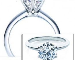 DIAMOND RING GIA CERT. 18K WHITE GOLD-1.00ct Round H-VS2
