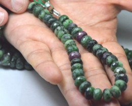 9.5 inch line 24cm 9mm Ruby Zoisite AAArondelle gemstone beads faceted rz06