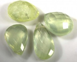 15.40 CTS YELLOW PREHNITE BRIOLETTE (4 PCS) FACETED ADG-1307