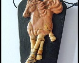141.5Cts Natural Obsidian,Multi Color Picasso Jasper Intarsia Horse Pendant