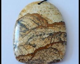 110.5 Cts Natural Inpressionist Picture Jasper Pendant Bead(D0019)