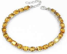 Citrine Bracelet,  Ladies Bracelet,  Silver With White Gold
