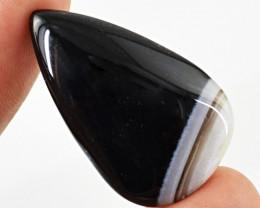 Genuine 26.10 Cts Black Onyx Pear Shaped Cab