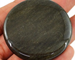 Genuine 113.60 Cts Black Galaxy Jasper Round Shaped Cab