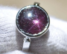 Star Ruby 925 Sterling Silver Ring US Size 7.25 J319
