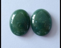 29.5cts Natural Oval Moss Agate Gemstone Cabochon Pair