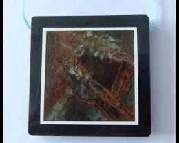 106.5cts Natural Green Jasper,Obsidian Intarsia Pendant Bead(B1804238)