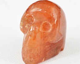 Genuine 73.50 Cts Orange Aventurine Skull