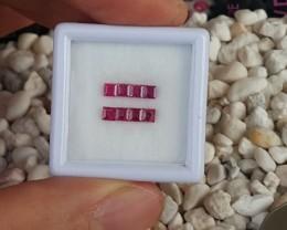 Ruby,  Heat Only, Accent Stones, Princess / Scissor Cut,  2.5mm