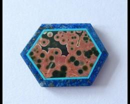 17.5Cts Beautiful Ocean jasper,lapis,Obsidian Intarsia Cabochon