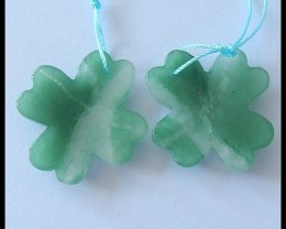 48Cts Four Leaf Clover Gemstone Beads Pair,Green Aventurine B80