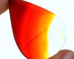 Genuine 45.75 Cts Orange Onyx Pear Shaped Cab