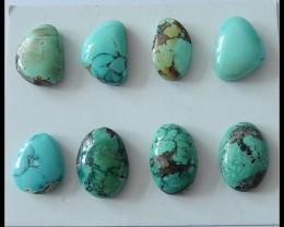 8 PCS Turquoise Gemstone Cabochons,50cts