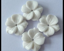 4 PCS White Agate Flower Carving Beads,15x4MM