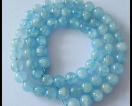 6 MM Blue Aquamarine Gemstone Round Loose Beads Strand