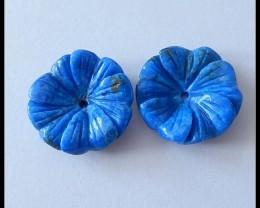 18.5cts Natural Lapis Lazuli Flower Beads Pair