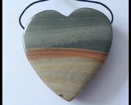 111cts Natural Ocean Jasper Heart Pendant Bead