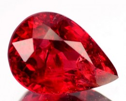 1.30 Cts Natural Fire Red Spinel Pear Faceted Burmese Gem