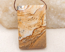 P0172 - 120cts Natural Picture Jasper Pendant Bead,Natural Gemstone
