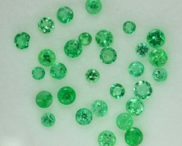 1.03 Cts Natural Columbian Green Emerald Round Parcel NR