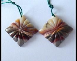 38.85cts Carved  Mookaite Jasper Earring Beads,Healing Stone B72
