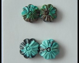 4 PCS Turquoise Flower Carving Cabochon