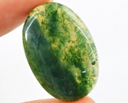 Genuine 21.40 Cts Green Moss Agate Oval Shaped Cab