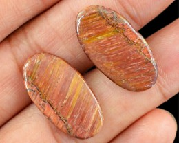 Genuine 16.20 Cts Golden Tiger Eye Oval Shaped Cab Pair
