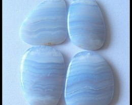 4 PCS Natural Blue Lace Agate Gemstone Cabochons Parcel,113cts